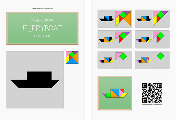 Tangram worksheet 164 : Ferryboat - This worksheet is available for free download at http://www.tangram-channel.com