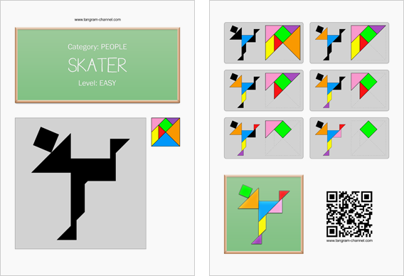 Tangram worksheet 8 : Skater - This worksheet is available for free download at http://www.tangram-channel.com