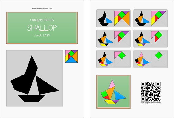 Tangram worksheet 188 : Shallop - This worksheet is available for free download at http://www.tangram-channel.com