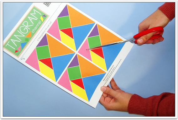 Four sets of tangram pieces - Download for free at http://www.tangram-channel.com/tangrams-to-cut-out/