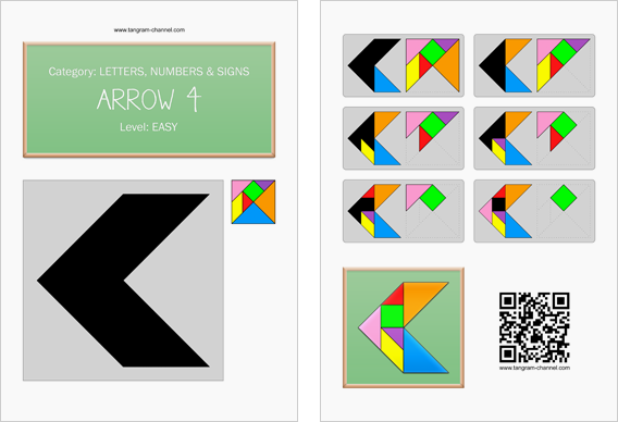 Tangram worksheet 26 : Arrow 4 - This worksheet is available for free download at http://www.tangram-channel.com