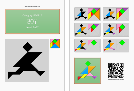 Tangram worksheet 152 : Boy - This worksheet is available for free download at http://www.tangram-channel.com