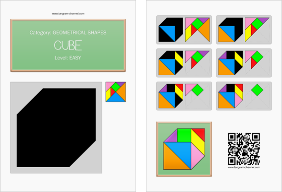 Tangram worksheet 11 : Cube - This worksheet is available for free download at http://www.tangram-channel.com