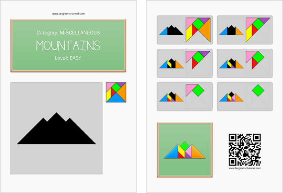 Tangram worksheet 146 : Mountains - This worksheet is available for free download at http://www.tangram-channel.com