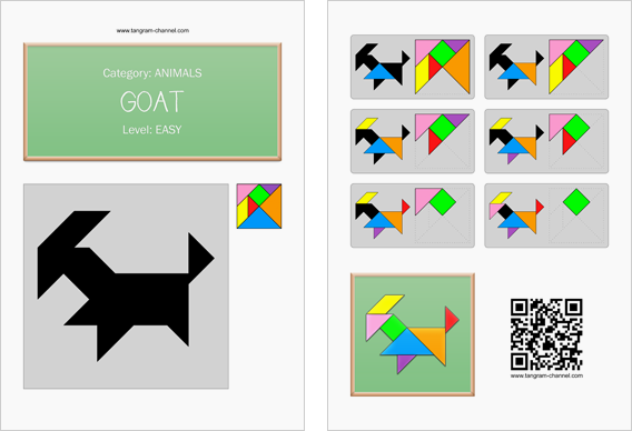 Tangram worksheet 145 : Goat - This worksheet is available for free download at http://www.tangram-channel.com