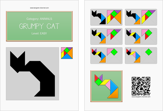 Tangram worksheet 44 : Grumpy cat - This worksheet is available for free download at http://www.tangram-channel.com