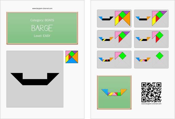 Tangram worksheet 166 : Barge - This worksheet is available for free download at http://www.tangram-channel.com