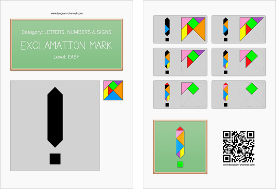 Tangram worksheet 74 : Exclamation mark - This worksheet is available for free download at http://www.tangram-channel.com