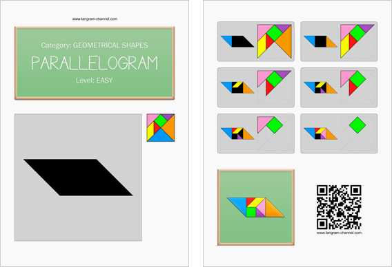 Tangram worksheet 79 : Parallelogram - This worksheet is available for free download at http://www.tangram-channel.com