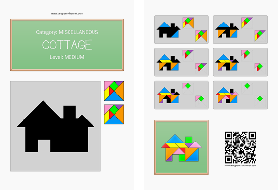 Tangram worksheet 89 : Cottage - This worksheet is available for free download at http://www.tangram-channel.com