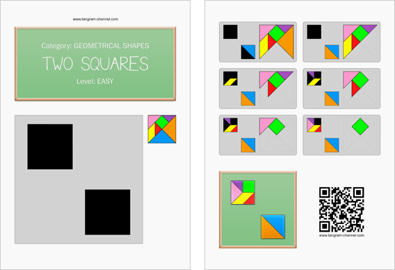 Tangram worksheet 52 : Two squares - This worksheet is available for free download at http://www.tangram-channel.com