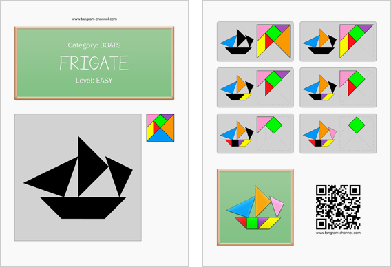 Tangram worksheet 172 : Frigate - This worksheet is available for free download at http://www.tangram-channel.com