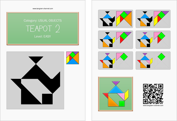 Tangram worksheet 69 : Teapot 2 - This worksheet is available for free download at http://www.tangram-channel.com