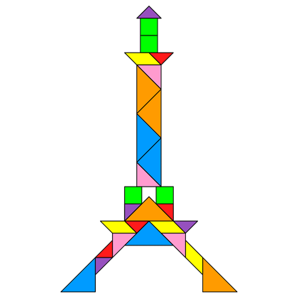 tangram eiffel tower tangram solution 160 providing teachers and pupils with tangram puzzle. Black Bedroom Furniture Sets. Home Design Ideas