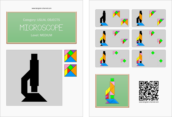 Tangram worksheet 93 : Microscope - This worksheet is available for free download at http://www.tangram-channel.com