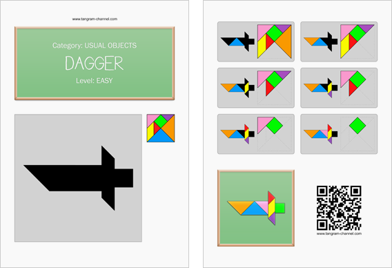 Tangram worksheet 211 : Dagger - This worksheet is available for free download at http://www.tangram-channel.com