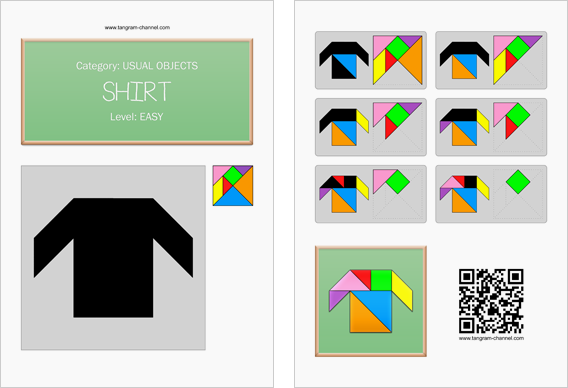 Tangram worksheet 7 : Shirt - This worksheet is available for free download at http://www.tangram-channel.com