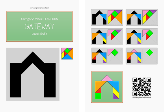 Tangram worksheet 225 : Gateway - This worksheet is available for free download at http://www.tangram-channel.com