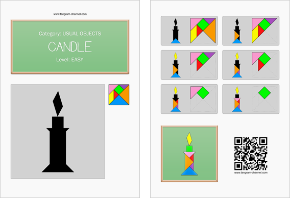 Tangram worksheet 21 : Candle - This worksheet is available for free download at http://www.tangram-channel.com