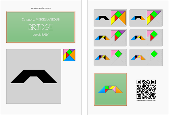 Tangram worksheet 27 : Bridge - This worksheet is available for free download at http://www.tangram-channel.com