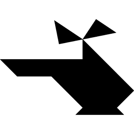 Tangram puzzle 13 : Helicopter - Visit http://www.tangram-channel.com/ to see the solution to this Tangram