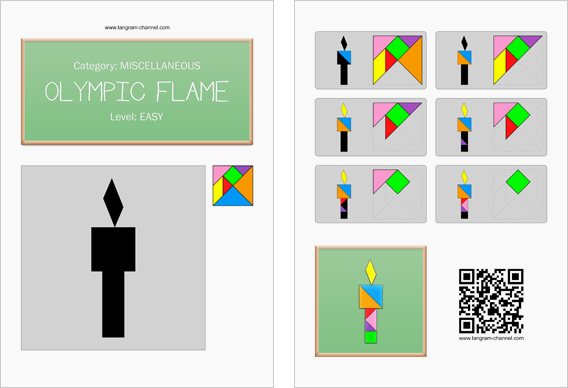 Tangram worksheet 173 : Olympic flame - This worksheet is available for free download at http://www.tangram-channel.com