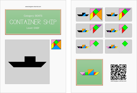 Tangram worksheet 169 : Container ship - This worksheet is available for free download at http://www.tangram-channel.com