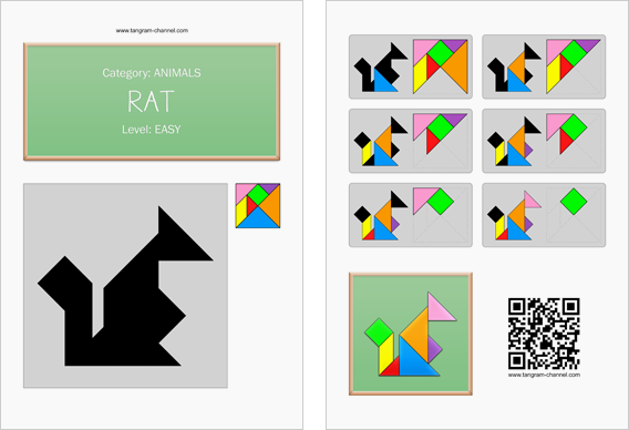 Tangram worksheet 252 : Rat - This worksheet is available for free download at http://www.tangram-channel.com