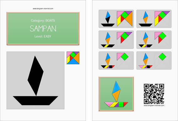 Tangram worksheet 45 : Sampan - This worksheet is available for free download at http://www.tangram-channel.com