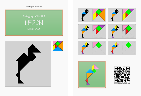 Tangram worksheet 204 : Heron - This worksheet is available for free download at http://www.tangram-channel.com