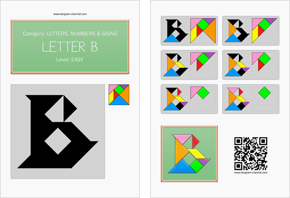 Tangram worksheet 96 : Letter B - This worksheet is available for free download at http://www.tangram-channel.com