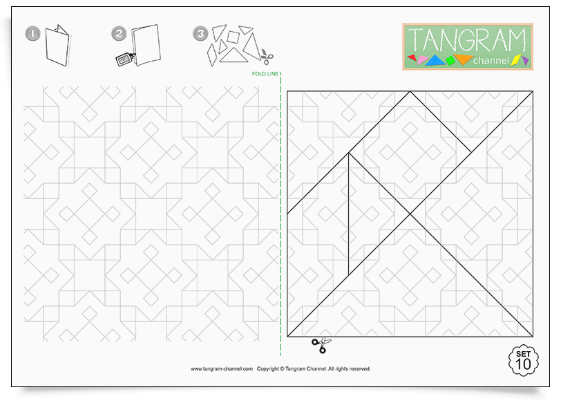 Color & maque your own Tangram set