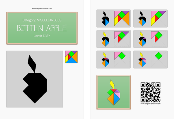 Tangram worksheet 170 : Bitten apple - This worksheet is available for free download at http://www.tangram-channel.com