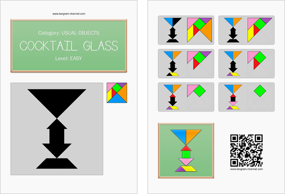 Tangram worksheet 97 : Cocktail glass - This worksheet is available for free download at http://www.tangram-channel.com