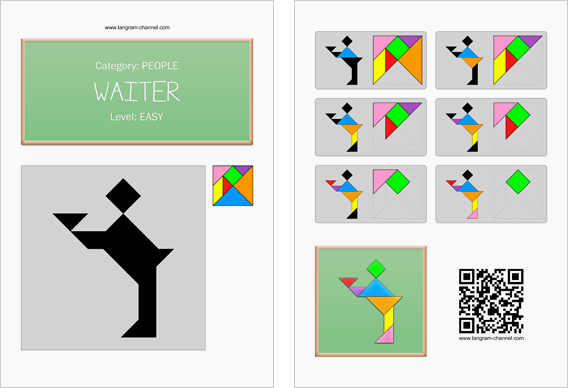 Tangram worksheet 72 : Waiter - This worksheet is available for free download at http://www.tangram-channel.com
