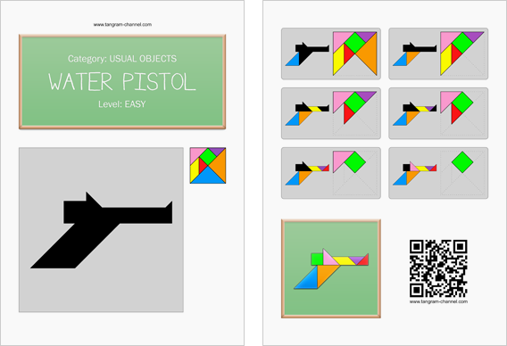 Tangram worksheet 187 : Water pistol - This worksheet is available for free download at http://www.tangram-channel.com