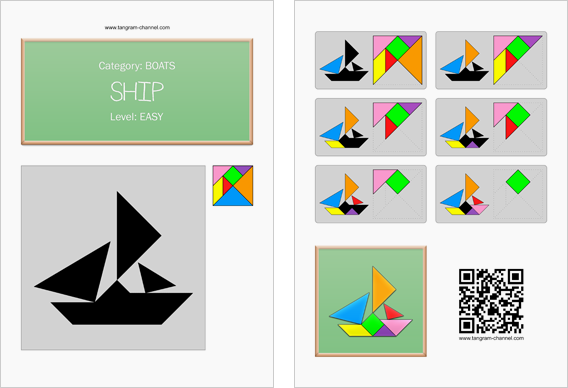 Tangram worksheet 224 : Ship - This worksheet is available for free download at http://www.tangram-channel.com