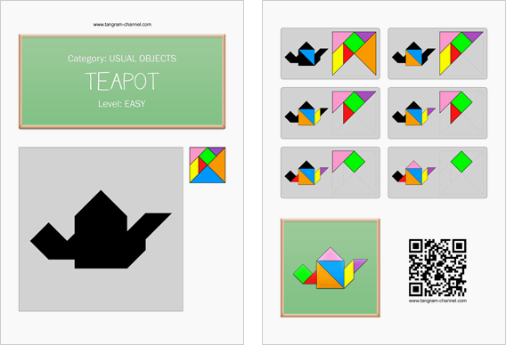 Tangram worksheet 28 : Teapot - This worksheet is available for free download at http://www.tangram-channel.com