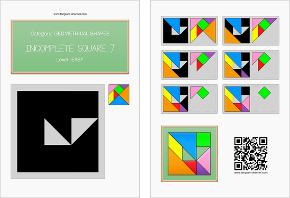 Tangram worksheet 179 : Incomplete square 7 - This worksheet is available for free download at http://www.tangram-channel.com