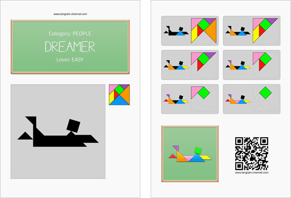 Tangram worksheet 77 : Dreamer - This worksheet is available for free download at http://www.tangram-channel.com