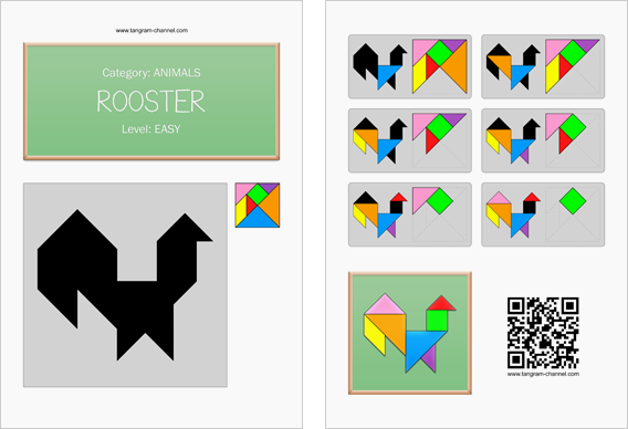 Tangram worksheet 68 : Rooster - This worksheet is available for free download at http://www.tangram-channel.com