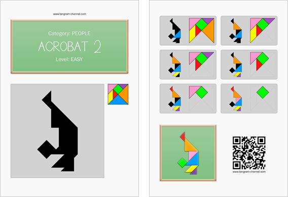 Tangram worksheet 233 : Acrobat 2 - This worksheet is available for free download at http://www.tangram-channel.com