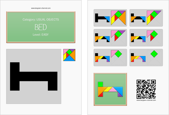Tangram worksheet 271 : Bed - This worksheet is available for free download at http://www.tangram-channel.com