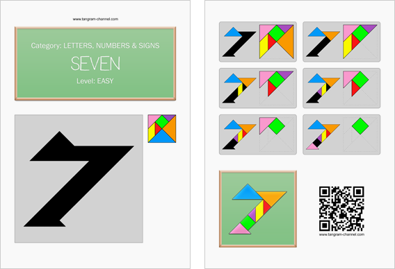 Tangram worksheet 109 : Seven - This worksheet is available for free download at http://www.tangram-channel.com