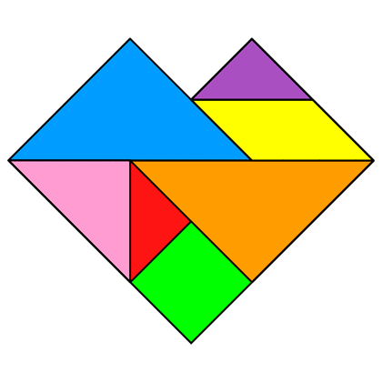 Tangram Heart - Tangram solution #60 - Providing teachers and pupils ...