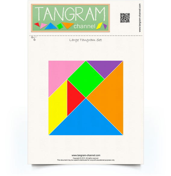 One set of tangram pieces - Free printable tangram puzzle - www.tangram-channel.com