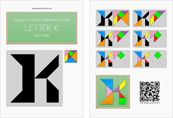 Tangram worksheet 124 : Letter K - This worksheet is available for free download at http://www.tangram-channel.com