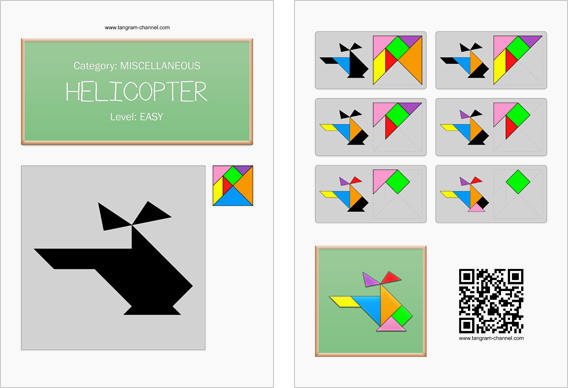 Tangram worksheet 13 : Helicopter - This worksheet is available for free download at http://www.tangram-channel.com