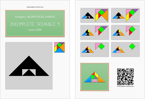 Tangram worksheet 220 : Incomplete triangle 4 - This worksheet is available for free download at http://www.tangram-channel.com