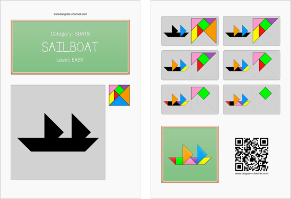 Tangram worksheet 10 : Sailboat - This worksheet is available for free download at http://www.tangram-channel.com